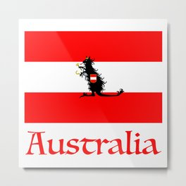 Australia - Kangaroo on Austrian Flag Metal Print