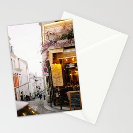 Dreamy Street in Montmartre, Paris with Parisian Cafe Stationery Cards