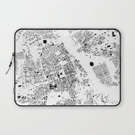 Warszawa Map Schwarzplan Only Buildings Laptop Sleeve