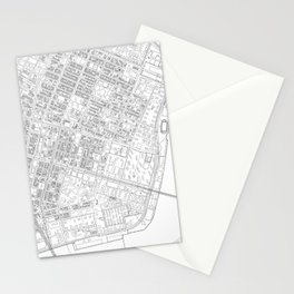 Abstract Map of New York City Manhattan Lower East Side Stationery Cards