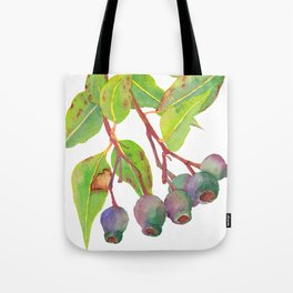 Gum tree branch with gumnuts - Watercolour Tote Bag