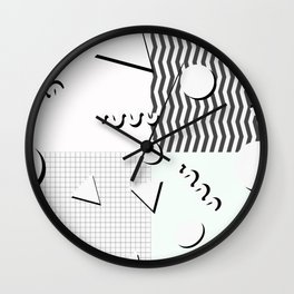 Pale 80s Pattern Wall Clock