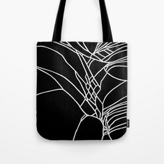 Cracked White on Black Tote Bag