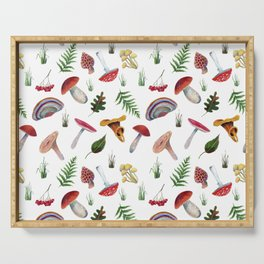 Mushrooms, leaves, grass, mountain ash. Drawn with colored pencils. Serving Tray