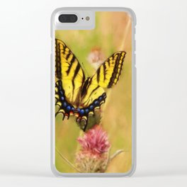 Tiger Swallowtail Butterfly on Thistles Clear iPhone Case