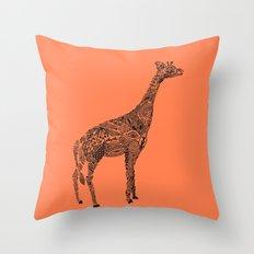 Designer Giraffe Coral Throw Pillow