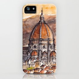 Florence ink & watercolor illustration iPhone Case