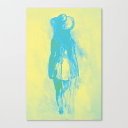 Watercolor sketch of girl in summer dress and hat Canvas Print