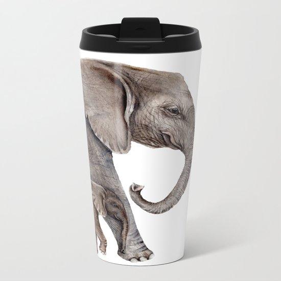 Elephants Metal Travel Mug