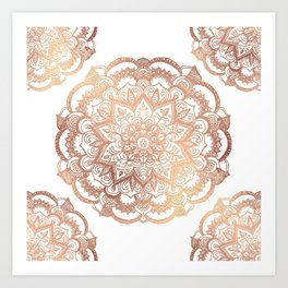 Mandala Rose-Gold Shine Art Print