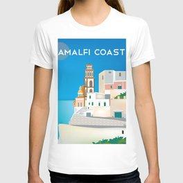 Amalfi Coast, Italy - Skyline Illustration by Loose Petals T-shirt