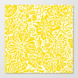 Gen Z Yellow Marigold Lino Cut Canvas Print
