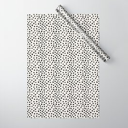 Preppy brushstroke free polka dots black and white spots dots dalmation animal spots design minimal Wrapping Paper