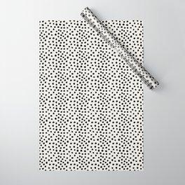 Preppy brushstroke free polka dots black and white spots dots dalmation animal spots design minimal Wrapping Paper