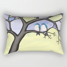tree swallows in the stained glass tree Rectangular Pillow