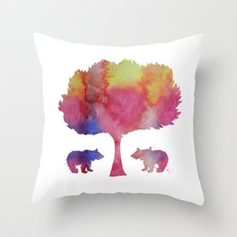 Bear Cubs Throw Pillow