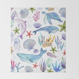under the sea watercolor Throw Blanket