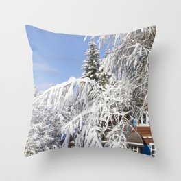 Mountain With Snow And Chalet Throw Pillow