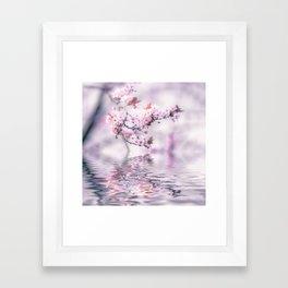 Zen Style Cherry Blossom and Water Framed Art Print