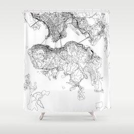 Hong Kong White Map Shower Curtain