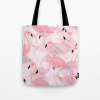 flamingo Tote Bags featuring Flamingo Pattern by Georgiana Paraschiv