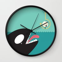 orca Wall Clocks featuring orca by Alfonso Cervantes