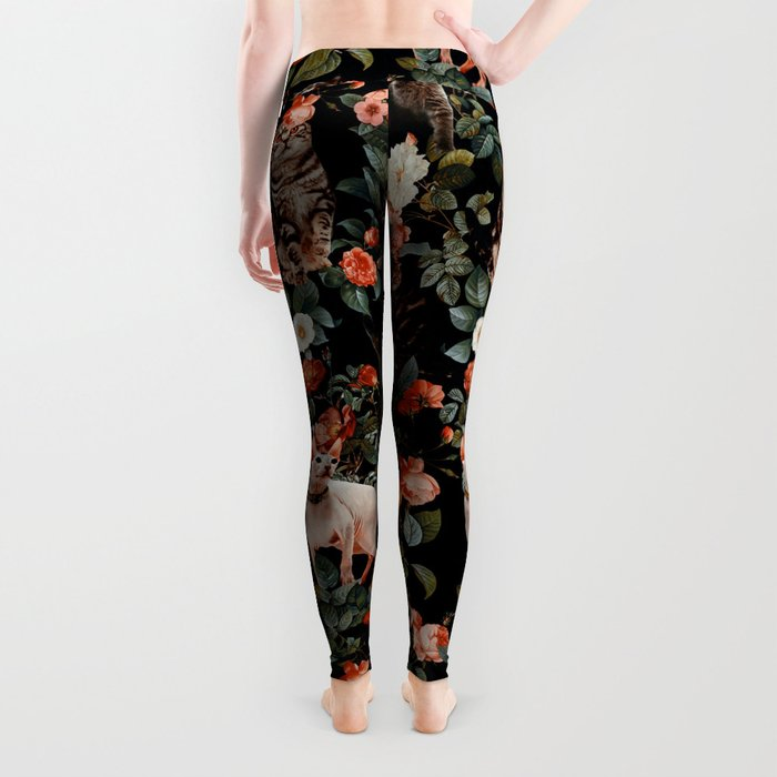 Cat and Floral Pattern II Leggings
