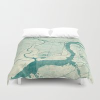 philadelphia Duvet Covers featuring Philadelphia Map Blue Vintage by City Art Posters