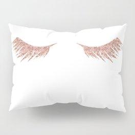 Pretty Lashes Rose Gold Glitter Pink Pillow Sham