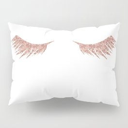 Pretty Lashes Rose Gold Glitter Pink Pillow Sham