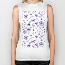 Hand painted lilac violet watercolor bird floral pattern Biker Tank