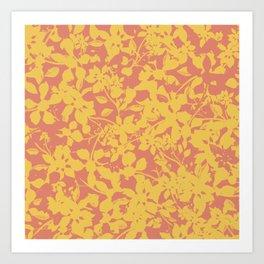 Yellow and Coral Botanical Pattern - Broken but Flourishing Art Print