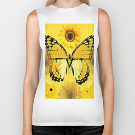 ABSTRACT BUTTER COLORED YELLOW BUTTERFLY FLORA Biker Tank