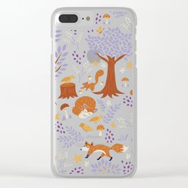 Foxes Playing in a Purple Forest Clear iPhone Case