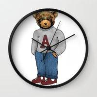 teddy bear Wall Clocks featuring teddy bear by ulas okuyucu