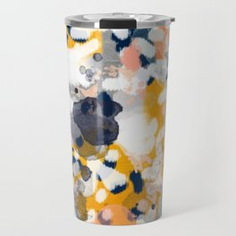 Stella II - Abstract painting in modern fresh colors navy, orange, pink, cream, white, and gold Travel Mug