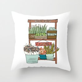 Mei's Farm Stand Throw Pillow