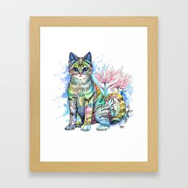 Rainbow Cat with water lily Framed Art Print