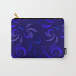Pattern from violet doodles and curls in floral ornament in ethnic style on a blue background. Carry-All Pouch