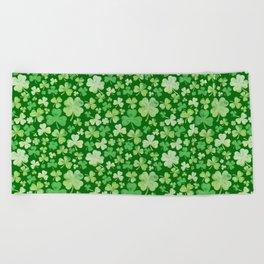 Lucky Green Watercolour Shamrock Pattern Beach Towel