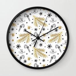 Christmas Pattern Gold Wall Clock