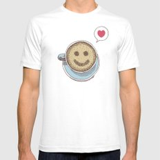 Coffee Love White Mens Fitted Tee SMALL