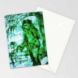 Vladimir Karabegov Sketch In Green Marker Stationery Cards