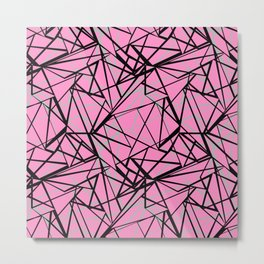 Geometric pattern in gray, pink and black colours . Metal Print