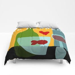Goldfishes love red wine- with funny caption Comforters