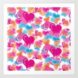 Pastel Hearts Pattern. Hearts Pattern.Pink Blue Orange Light Pink. Happy Valentine. Hearts. Love Art Print