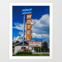 The Ranch House Motel, Vintage Motel Signs, Bozeman, Montana Art Print