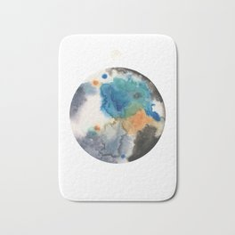 Blue, Black, Tan and Silver Planet Painting Bath Mat