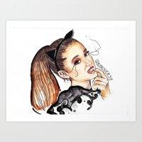 ariana grande Art Prints featuring ARIANA G. by CARLOS CASANOVA