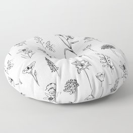 Patagonian wildflowers white Floor Pillow